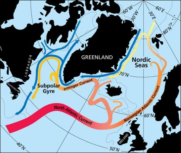 Aguas subtropicales - están llegando a los glaciares de Groenlandia.