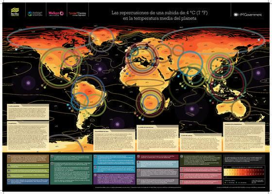 Nuevo mapa del Headley Center sobre posibles efectos de un aumento de 4 ºC en la temperatura media del planeta.