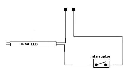 Conexión de un tubo de LEDs