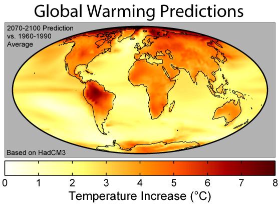 Mapa del calentamiento global.