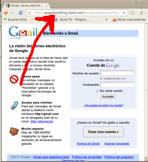 Intento de robo de la cuenta de Gmail.
