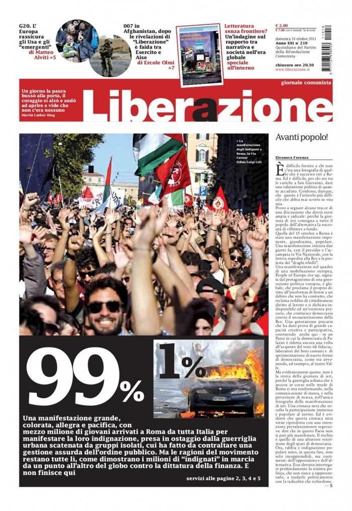 La noticia en un medio objetivo: Liberazione
