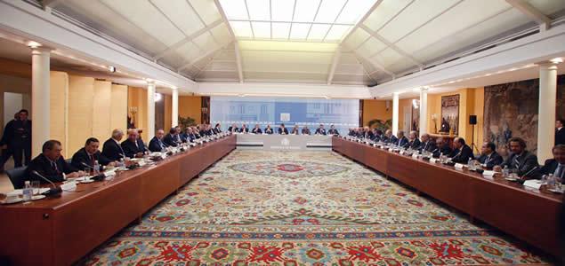 Reunión en Moncloa del presidente de Gobierno José Luis_Rodriguez Zapatero con los principales empresarios españoles.