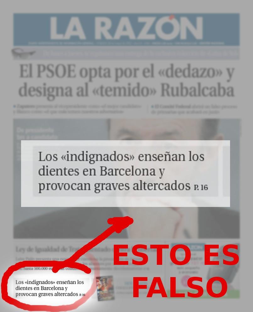Portada La Razón 28M: los 'indignados' enseñan los dientes en Barcelona y provocan graves altercados.