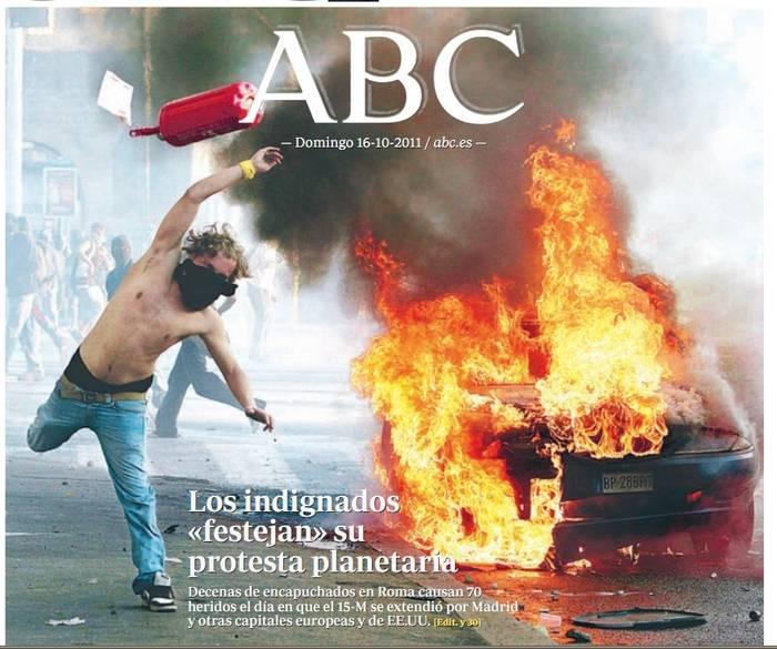 Portada de ABC eligiendo la imagen que más se aparta de lo que ocurrió.