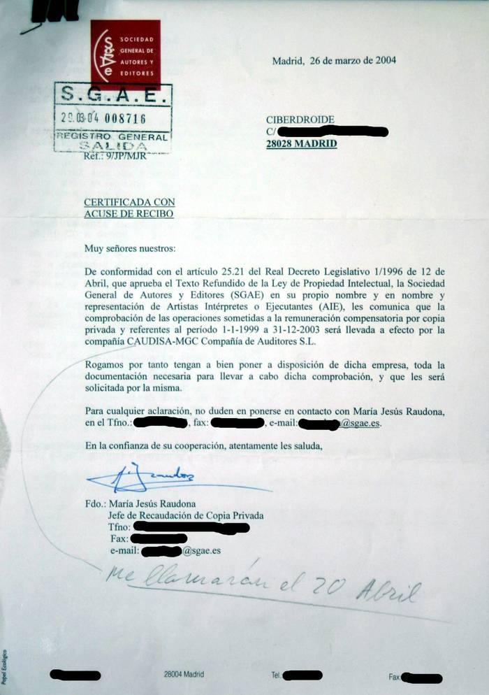 Foto de la carta que recibí de la SGAE. (He tachado los datos personales privados)