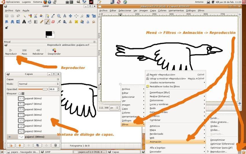 Escritorio de trabajo con Gimp para crear una animación.