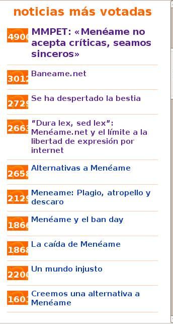 Noticias más votadas de Meneame.