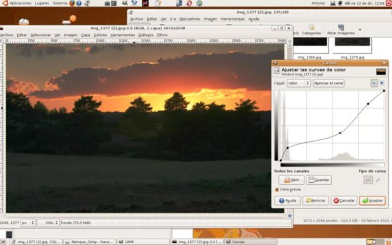 Uso de la curva de color en un contraluz de puesta de sol