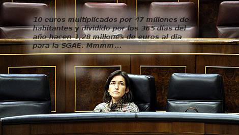 Ángeles González Sinde maquinando desde su escaño.