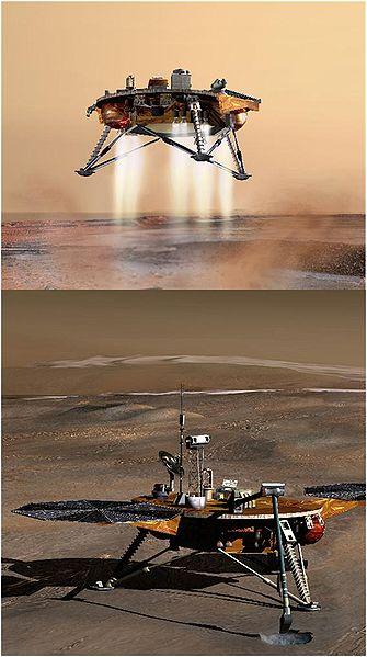 Sonda espacial Phoenix aterrizando en Marte