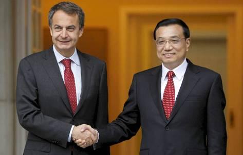 Zapatero y viceprimer ministro chino.