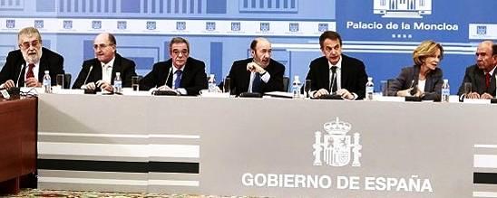 Reunión de Zapatero con los empresarios en la Moncloa.